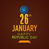 Indian Republic Day celebration poster design with Ashoka Wheel. Royalty Free Stock Images