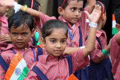 Indian Republic Day celebration at school. Celebration of Indian Independence Day by Kendriya Vidyalaya or Central school students in uniform. Small children Stock Photo