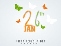 Indian Republic Day celebration text and butterflies. Text of 26 Jan with butterflies in national flag color on shiny background for Indian Republic Day Stock Photography