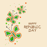 Indian Republic Day celebration with tricolor butterflies. Stock Image