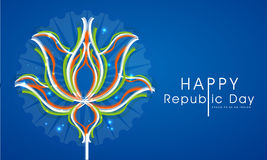 Indian Republic Day celebration with tricolor lotus. Happy Indian Republic Day celebrations with National Flower Lotus in tricolor on blue background Stock Photos