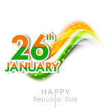 Indian Republic Day celebration with tricolor text. Royalty Free Stock Image