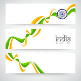 Indian Republic Day celebration website header or banner set. Stock Photos