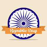 Indian Republic Day concept background with Ashoka wheel and ribbon. Indian  Republic Day concept background with Ashoka wheel and ribbon Stock Images