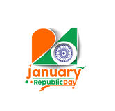 Indian Republic day. Concept with text 26 January Stock Image