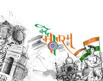 Indian Republic day concept with text 26 January with hindi typo. Graphy of vande matram Stock Photography