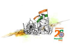 Indian Republic day concept with text 26 January with hindi typo. Graphy of vande matram Royalty Free Stock Photography