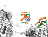 Indian Republic day concept with text 26 January with hindi typo. Graphy of vande matram Stock Photo