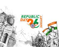 Indian Republic day concept with text 26 January with hindi typo. Graphy of vande matram Stock Images