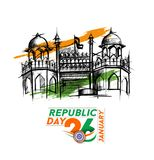 Indian Republic day concept with text 26 January with hindi typo. Graphy of vande matram, vector illustration Stock Photos