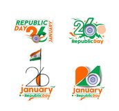 Indian Republic day concept with text 26 January. Vector illustration Stock Photo