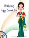 Indian Republic day greeting card with beautiful woman. Concept of poster for 26 January. Vector illustration on white background Stock Photo