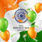 Indian republic day holiday background. 3d wheel with balloons, serpentine and wave indian flag. Vector illustration Stock Images