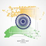 Indian republic day holiday background. 3d wheel with white frame and halftone effect in traditional tricolor of indian flag. Vector illustration Royalty Free Stock Photography