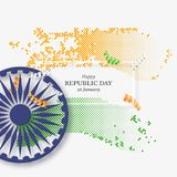 Indian republic day holiday background. 3d wheel with white frame and halftone effect in traditional tricolor of indian flag. Vector illustration Royalty Free Stock Photo