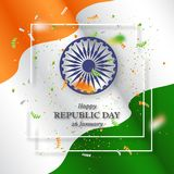 Indian republic day holiday background. 3d wheel with white frame, serpentine and wave indian flag. Vector illustration Stock Photography