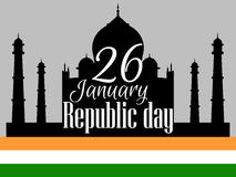Indian Republic day, holiday January 26. Taj Mahal with flag. Vector Stock Image