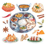 Indian restaurant food ingredients composition. Traditional indian cuisine restaurant food ingredients pictograms composition poster with main and side dishes Stock Image