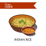 Indian rice in deep bowl with spicy sauce Royalty Free Stock Photo