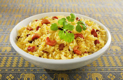 Indian Rice Pilau in White Bowl. Classic fruit and nut Indian pilau, basmati rice cooked with stock, saffron, garlic, onion, cinnamon, cardamom, sultanas and Royalty Free Stock Images