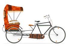Indian rickshaw. Cartoon Indian rickshaw on a white background. Flat vector Royalty Free Stock Images