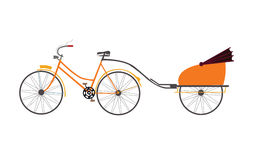 Indian rickshaw vector illustration travel transportation pull by bicycle Stock Photo
