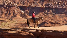 Indian Riding Horse in Monument Valley Royalty Free Stock Images