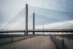 The Indian River Bridge and sandy path near Bethany Beach, Delaw Royalty Free Stock Photos