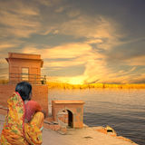 Indian river. Indian city near Ganges river in the sunset Stock Image