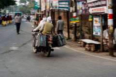Indian road. Currency in Indian road, motorcycles Stock Images
