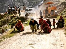 Indian roads. Hand made by women. Indiam women make road in mountains by own hands royalty free stock image
