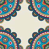 Indian rossetes doodle hippie frame Royalty Free Stock Photo