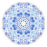 Indian round ornament, kaleidoscopic floral pattern, mandala. Design made in Russian gzhel style and colors Royalty Free Stock Image