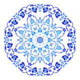 Indian round ornament, kaleidoscopic floral pattern, mandala. Design made in Russian gzhel style and colors.  stock illustration