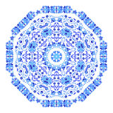 Indian round ornament, kaleidoscopic floral pattern, mandala. Design made in Russian gzhel style and colors Royalty Free Stock Photos
