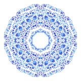 Indian round ornament, kaleidoscopic floral pattern, mandala. Design made in Russian gzhel style and colors. Indian round ornament, kaleidoscopic floral pattern stock illustration