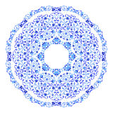 Indian round ornament, kaleidoscopic floral pattern, mandala. Design made in Russian gzhel style and colors. Stock Photos