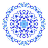 Indian round ornament, kaleidoscopic floral pattern, mandala. Design made in Russian gzhel style and colors. Indian round ornament, kaleidoscopic floral pattern vector illustration