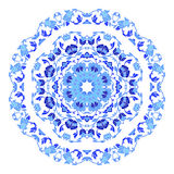 Indian round ornament, kaleidoscopic floral pattern, mandala. Design made in Russian gzhel style and colors. Stock Images