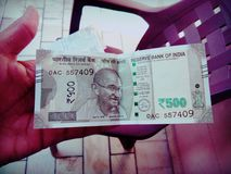 Indian 500 Rs note stock photo