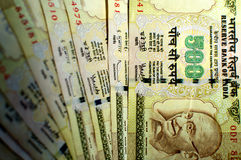 Indian Rupee 500 notes Stock Image