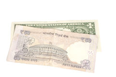 Indian rupee banknote and American dollars Stock Photo