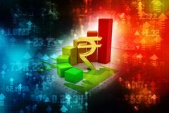 Indian Rupee with Business Graph in digital background stock illustration