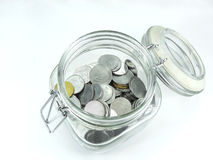 Indian Rupee Coins. Indian currency coins of various denominations in a glass jar Royalty Free Stock Photo