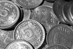 Indian Rupee Coins. Five Rupees Coins of India Stock Photos