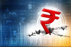 Red Indian Rupee Symbol Down to Ground, Indian Rupee crisis concept. 3D rendering  on white background stock illustration