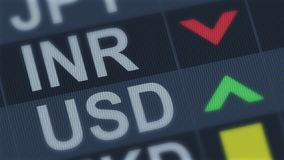 Indian rupee falling, American dollar rising, exchange rate fluctuation, finance. Stock photo royalty free stock image