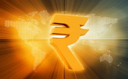 Indian Rupee icon. On abstract background Stock Photography