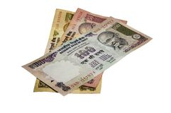 Indian Rupee (INR) on White Stock Image
