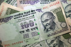 Indian Rupee 100 Mahatma Gandhi Isolated stock image